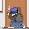 玄関先で周囲を窺う泥棒のイラスト