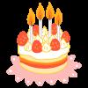 4歳のバースデイケーキのイラスト